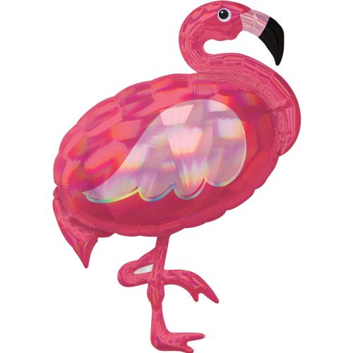"Pink Flamingo Iridescent SuperShape XL Foil Balloons 28""/71cm w x 33""/83cm h P40"